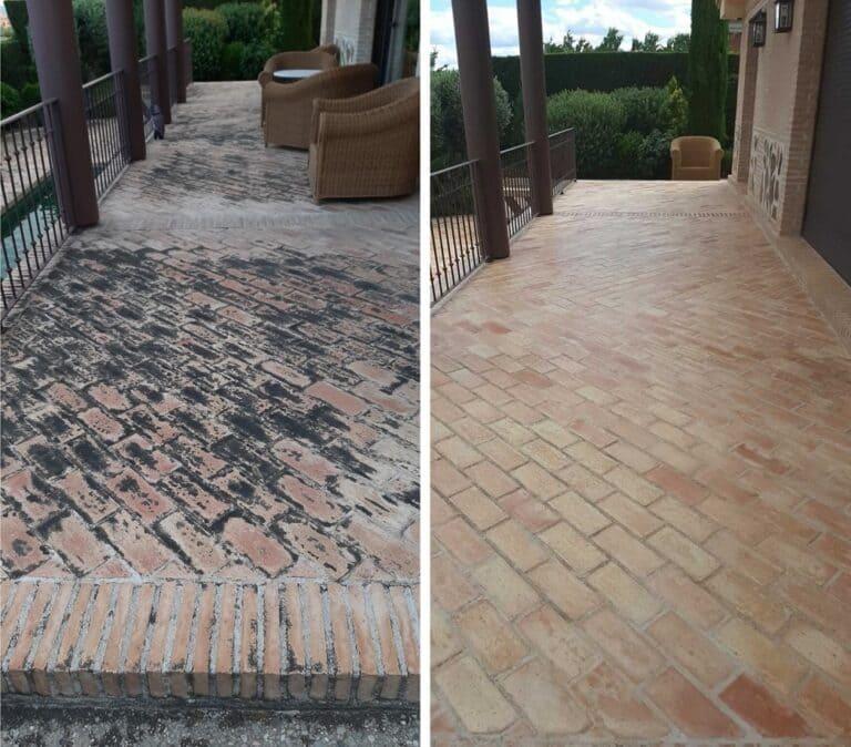 Antes y después tras eliminar moho en suelo de barro Toledo